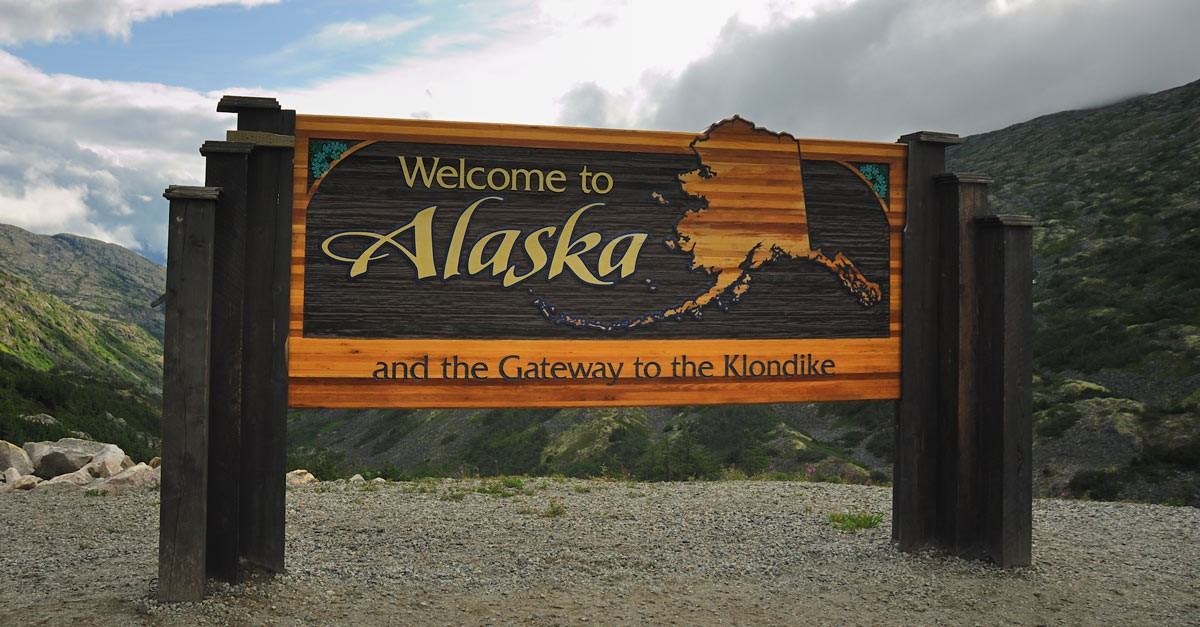 Sign that says welcome to Alaska